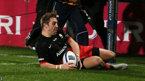 Saracens wing Chris Wyles touches down for a first-half try against Ulster