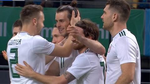 Gareth Bale celebrates after scoring the opener