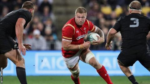 Ross Moriarty carries the ball for Wales against the All Blacks