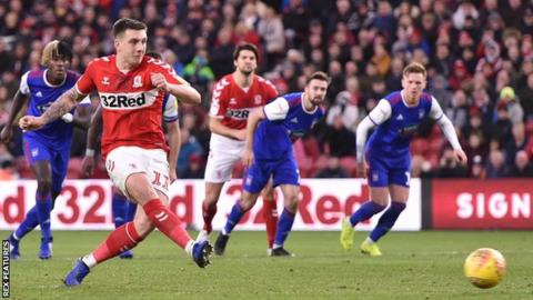 Jordan Hugill converts a penalty for Middlesbrough's first goal against Ipswich