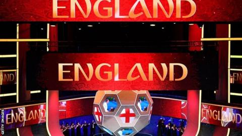 England is displayed on a screen at the 2018 World Cup draw in Russia