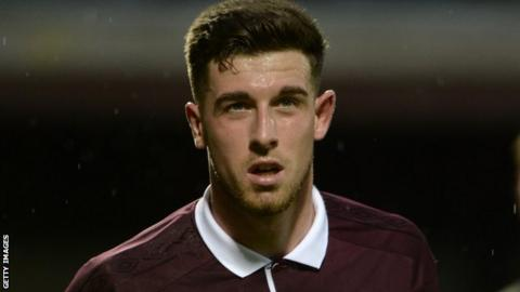 Cole Stockton playing for Hearts in a pre-season friendly against Newcastle