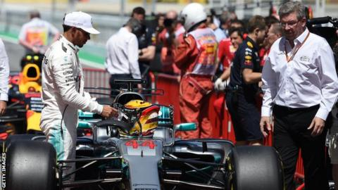 Formula 1 sporting Ross Brawn with Mercedes F1 driver Lewis Hamilton