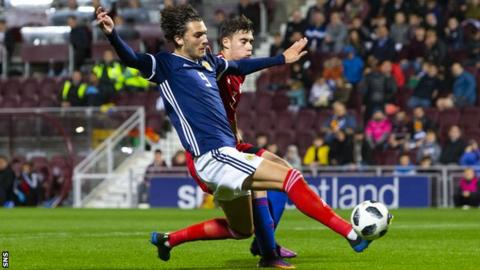 Fraser Hornby scores his third for Scotland against Andorra