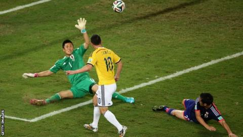 James Rodriguez scores against Japan in 2014