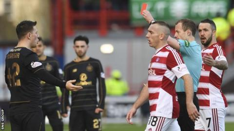 Referee Willie Collum shows Callum McGregor a red card early in the second half