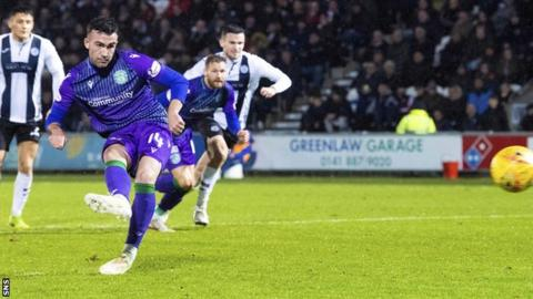 Mallan's late penalty helped Hibs to victory at St Mirren in November