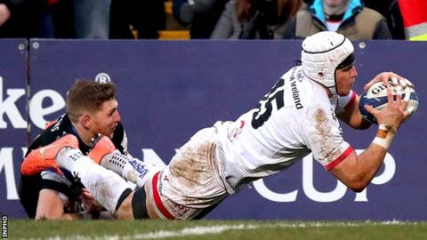 Will Addison scores Ulster's third try in their victory over Bath