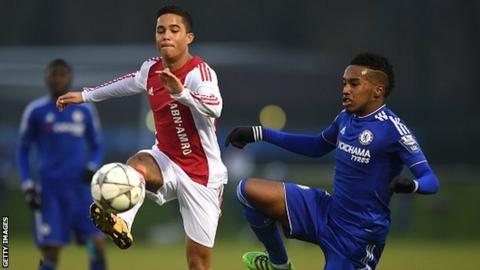 Justin Kluivert (left0 in action for Ajax against Chelsea in a Uefa Youth League match