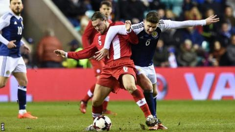 Tom Cairney playing for Scotland against Canada