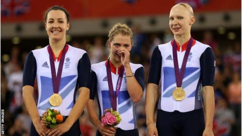 Dani King, Laura Trott and Joanna Rowsell Shand on the podium with their London 2012 gold medals