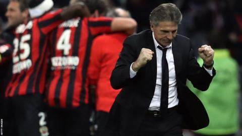Southampton's new coach Claude Puel celebrating while head coach at French side Nice