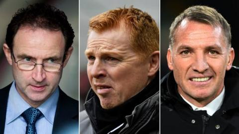 Martin O'Neill, Neil Lennon and Brendan Rodgers