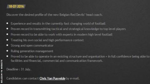 Belgium FA website