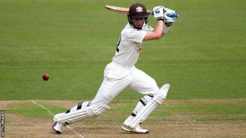 Ollie Pope cuts the ball behind point for Surrey against Yorkshire