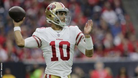 Jimmy Garoppolo in action against the Houston Texans