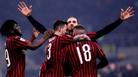 AC Milan's Zlatan Ibrahimovic celebrates scoring against Inter Milan