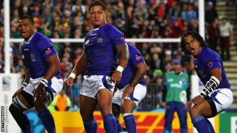 Captain Mahonri Schwalger leads the Samoan Siva Tau
