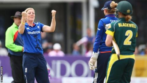 Heather Knight celebrates the wicket of Alex Blackwell at Bristol