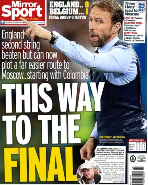 The Daily Mirror also points to England's supposed easier route to the final