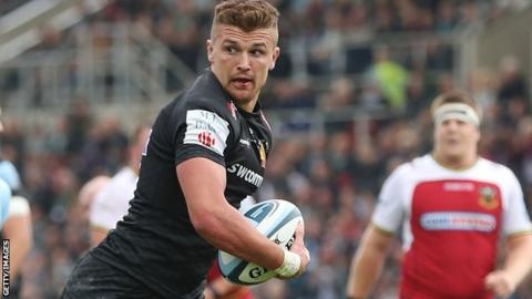 Henry Slade scores the first of Exeter's tries against Northampton