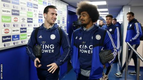 Leicester players Ben Chilwell (left) and Hamza Choudhury (right) talk in the tunnel before a game