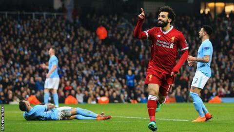 Mohamed Salah celebrates scoring for Liverpool against Manchester City