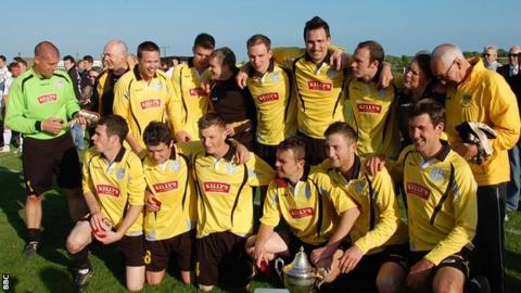 Bodmin Town celebrate a Cornwall Senior Cup win in 2011