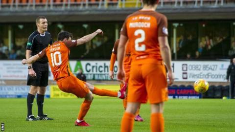Scott Fraser scores a free-kick for Dundee United against Dunfermline