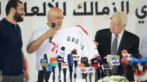 Christian Gross (centre) is unveiled as Zamalek coach