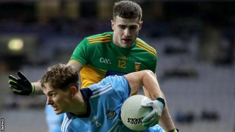 Dublin's Michael Fitzsimons tries to get away from Donegal's Caolan McGonigle