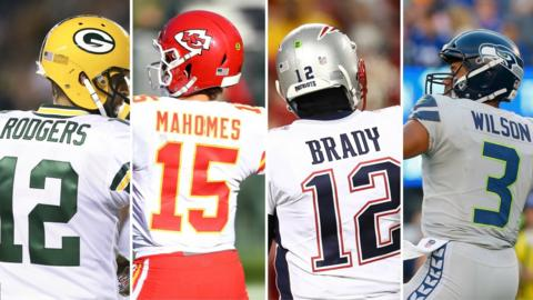 Aaron Rodgers, Patrick Mahomes, Tom Brady and Russell Wilson