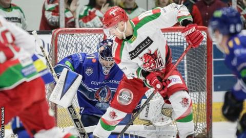 Matthew Myers screens Matt Hackett in net for the Blaze