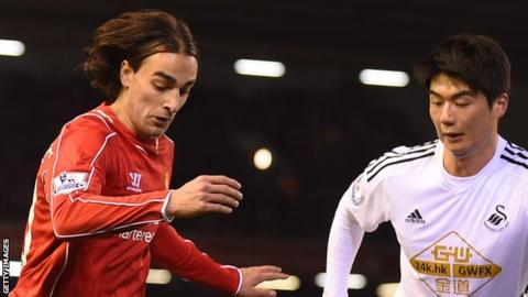 Lazar Markovic in action for Liverpool against Swansea in December, 2014