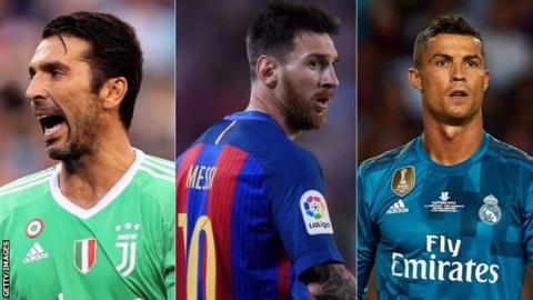 Gianluigi Buffon, Lionel Messi and Cristiano Ronaldo