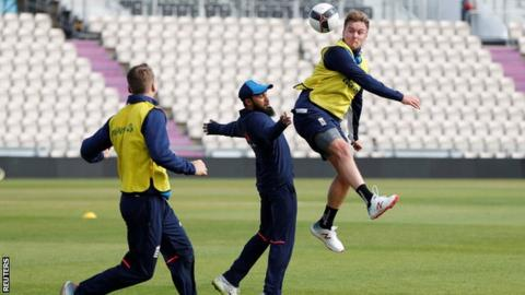 Jason Roy and Adil Rashid play football during a training session at The Ageas Bowl