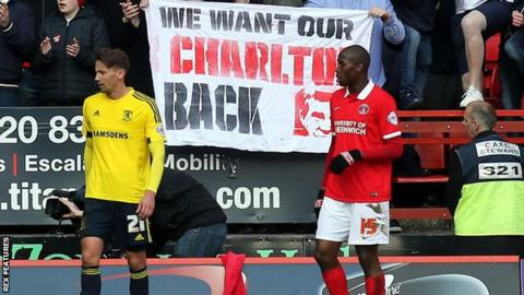 Charlton fans protest at Middlesbrough match