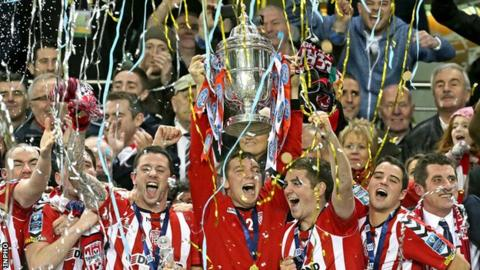Derry celebrate their FAI Cup triumph at the Aviva Stadium in 2012