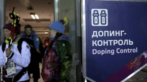 A Sochi doping test sign