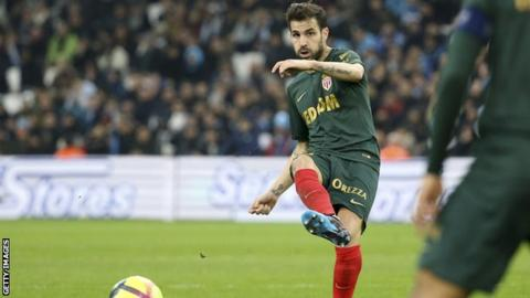 Cesc Fabregas makes his Monaco debut against Marseille at the Stade Velodrome