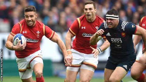 Wales scrum-half Rhys Webb in action against France