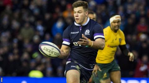 Scotland centre Huw Jones against Australia