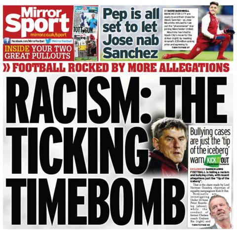 The Mirror back page on Saturday