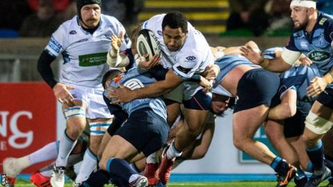 Glasgow's Samuela Vunisa powers into contact against Cardiff Blues