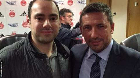 Gareth Wright with Aberdeen Manager Derek McInnes