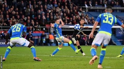 Angel Di Maria scores the late equaliser for PSG