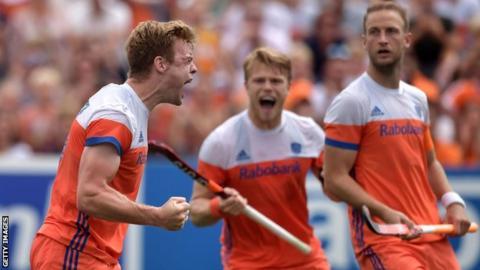 The Netherlands hockey team celebrate