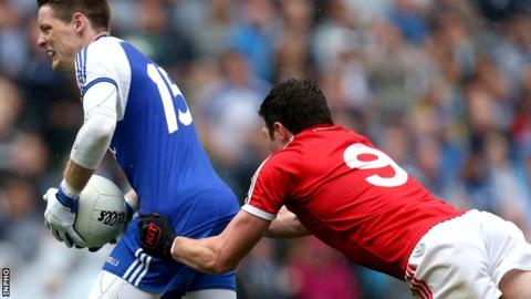 Sean McCavanagh produces a controversial challenge on Conor McManus in the closing stages of the 2013 All-Ireland quarter-final between Tyrone and Monaghan