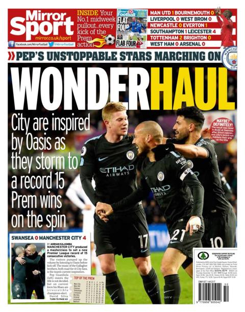 Wonderhaul in the Daily Mirror after Manchester City's 15th straight win