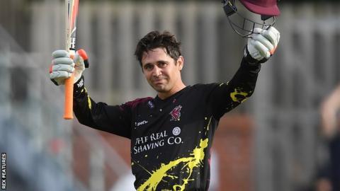 Somerset batsman Johann Myburgh celebrates scoring a century